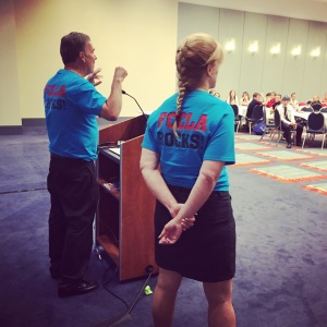 """Leadership for a Lifetime"" talk to high schools seniors, at FCCLA National Conference in Washington, DC, July 2015, with Dennis Trittin and Arlyn Lawrence"